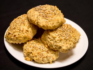"Oat Scones Topped with ""Everything"" Topping–Yum!"